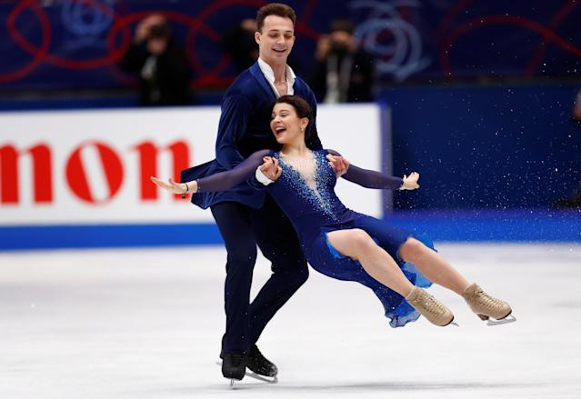 Figure Skating - World Figure Skating Championships - The Mediolanum Forum, Milan, Italy - March 24, 2018 Poland's Natalia Kaliszek and Maksym Spodyriev during the Ice Dance Free Dance REUTERS/Alessandro Garofalo