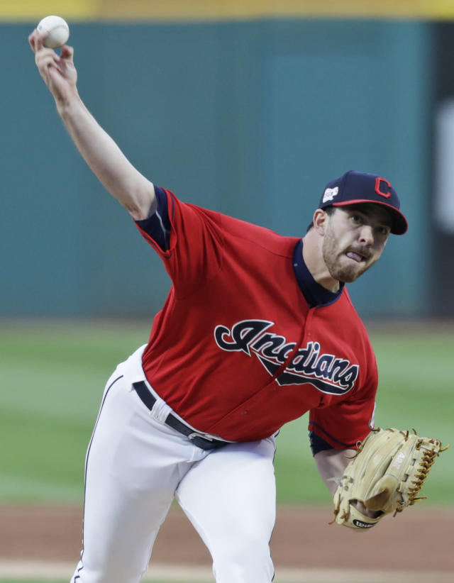 Cleveland Indians starting pitcher Aaron Civale delivers in the first inning in a baseball game against the Detroit Tigers, Wednesday, Sept. 18, 2019, in Cleveland. (AP Photo/Tony Dejak)