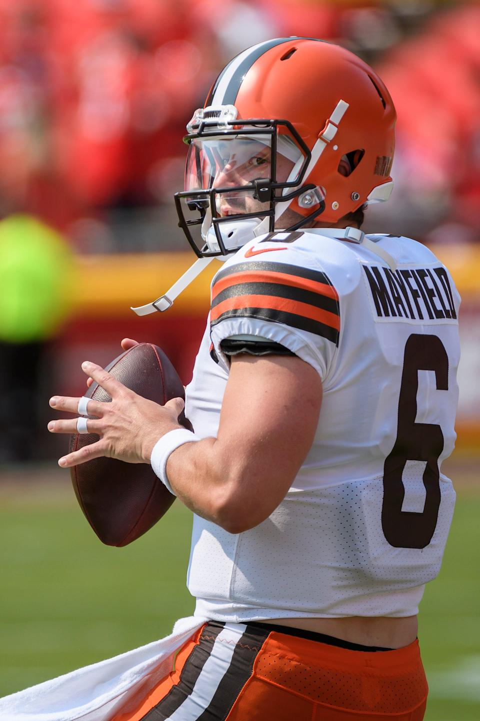 Cleveland Browns quarterback Baker Mayfield during pre-game warmups before an NFL football game against the Kansas City Chiefs, Sunday, Sept.12, 2021 in Kansas City, Mo. (AP Photo/Reed Hoffmann)