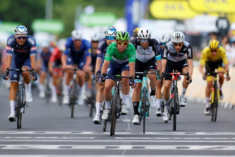 Mark Cavendish led the peloton over the line 15 minutes after the winner