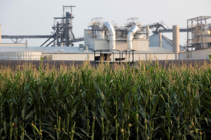 Project developers plan to build carbon capture pipelines connecting dozens of Midwestern ethanol refineries, such as this one in Chancellor, South Dakota, shown on Thursday, July 22, 2021. Corn absorbs the greenhouse gas carbon dioxide, but the process of fermenting it into ethanol releases carbon dioxide emissions. (AP Photo/Stephen Groves)