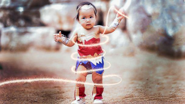 PHOTO: Liliana Chloe, 10-months-old, is dressed in a Wonder Woman costume for Halloween. (jmotivephotography.com<p>)