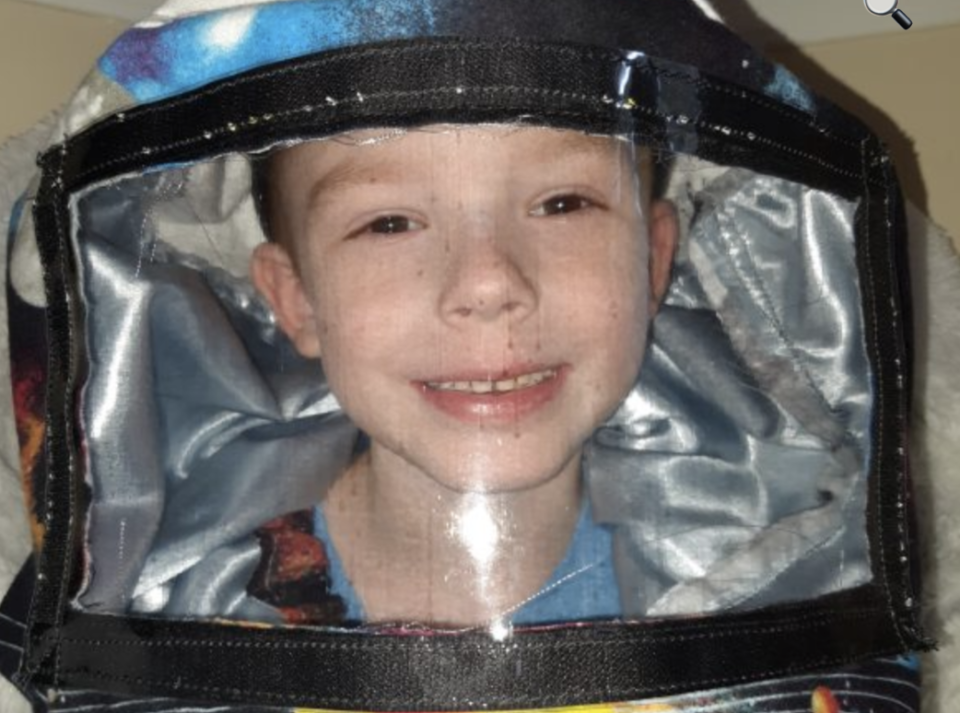 Myers' son models the Virus Veil, which she hopes will protect him and countless others if they return to school in the fall. (Photo: Hilary Myers)