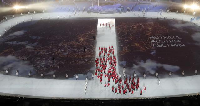 A map of Austria is projected onto the stadium floor as athletes march in during the opening ceremony of the 2014 Sochi Winter Olympics, February 7, 2014. REUTERS/Pawel Kopczynski (RUSSIA - Tags: OLYMPICS SPORT)