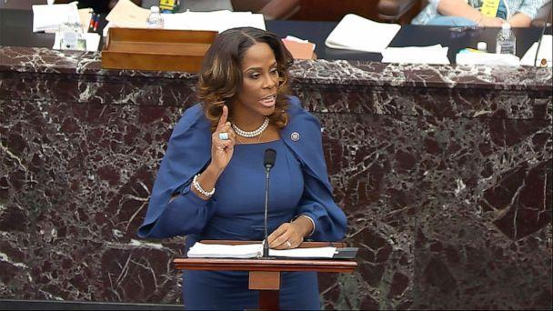 PHOTO: House impeachment manager Del. Stacey Plaskett speaks during the second impeachment trial of former President Donald Trump in the Senate at the U.S. Capitol in Washington, Feb. 10, 2021.  (AP)