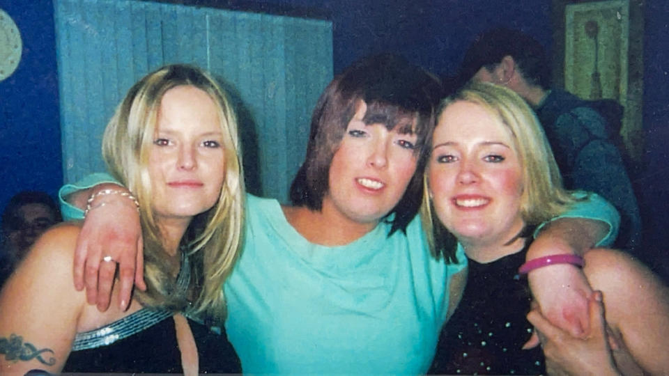 Lisa Dorrian (left) with her sisters Michelle (centre) and Joanne (right) at a house warming party in Bangor, in 2004 (Family Handout/PA)