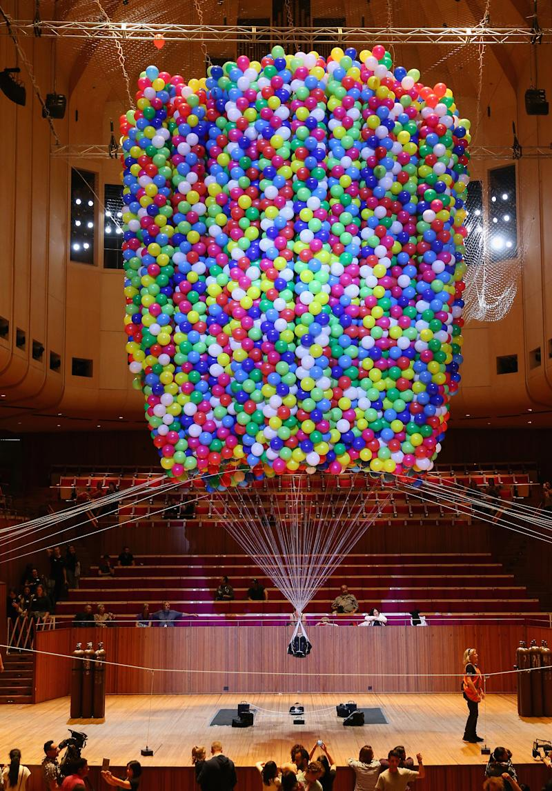 The live installation was called Cherophobia, which is the fear of happiness. (Don Arnold via Getty Images)