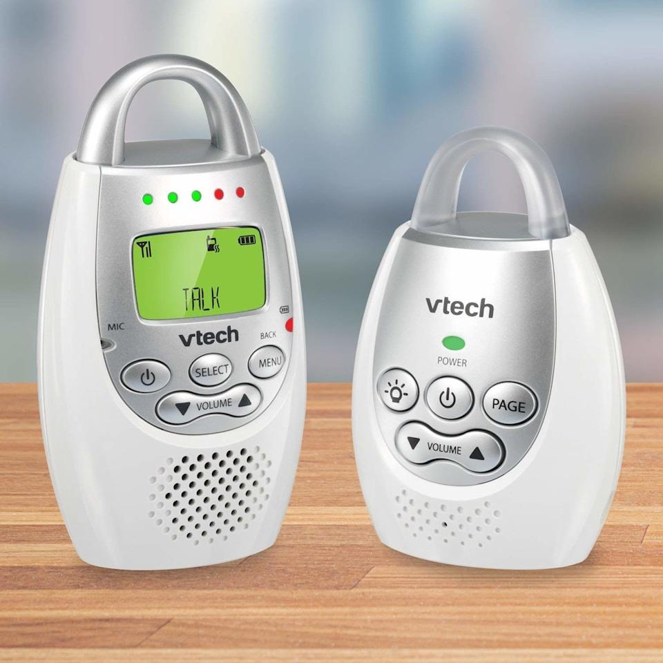 """With up to 1,000 feet of range, a vibrating sound alert, a talk-back intercom and a night light, you can easily keep an eye on your baby while they rest.<br /><br /><strong>Promising review:</strong>""""<strong>I don't have a screen to stare at and obsess over, it doesn't connect over our terrible WiFi so no worries there, and it lets you know if something is wrong — wrong with its system or wrong with baby.</strong>Oh, and as you can probably tell, it's SUPER portable! We take this over to my parents' house all the time and we don't have to reset everything, just plug it in and go."""" —<a href=""""https://amzn.to/33EIx7u"""" target=""""_blank"""" rel=""""nofollow noopener noreferrer"""" data-skimlinks-tracking=""""5189597"""" data-vars-affiliate=""""Amazon"""" data-vars-href=""""https://www.amazon.com/gp/customer-reviews/R23O22TYKPJYXS?tag=bfheather-20&ascsubtag=5189597%2C31%2C44%2Cmobile_web%2C0%2C0%2C160716"""" data-vars-keywords=""""cleaning,fast fashion"""" data-vars-link-id=""""160716"""" data-vars-price="""""""" data-vars-product-id=""""15996765"""" data-vars-retailers=""""Amazon"""">Ren Woodard</a><br /><br /><strong>Get it from Amazon for <a href=""""https://amzn.to/3eIVyTK"""" target=""""_blank"""" rel=""""noopener noreferrer"""">$29.99</a>.</strong>"""