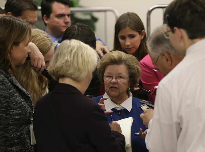 Senator Barbara Mikulski talks to reporters at the U.S. Capitol in Washington