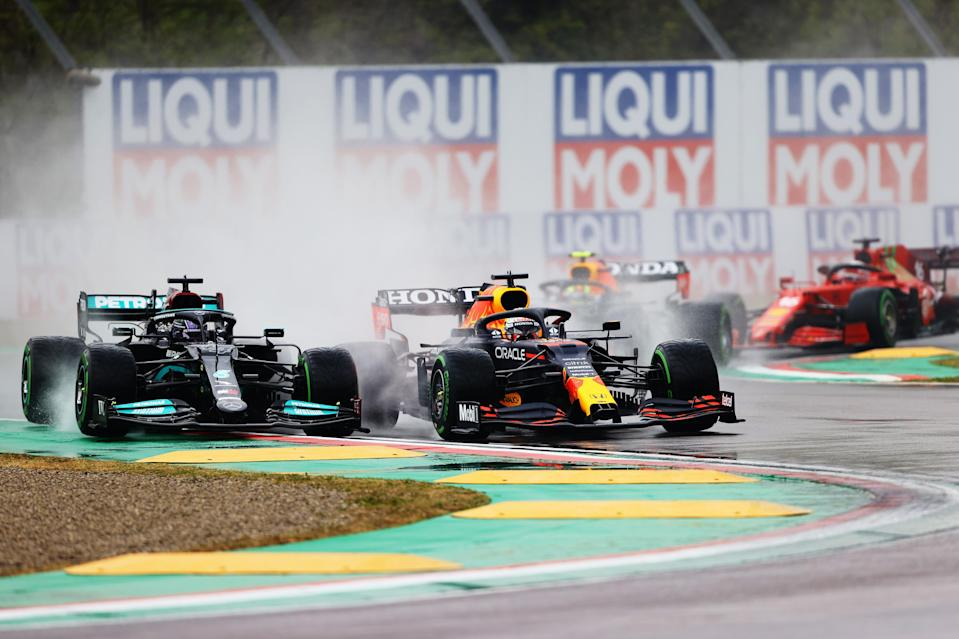 Max Verstappen ovetakes Lewis Hamilton at Imola (Getty Images)