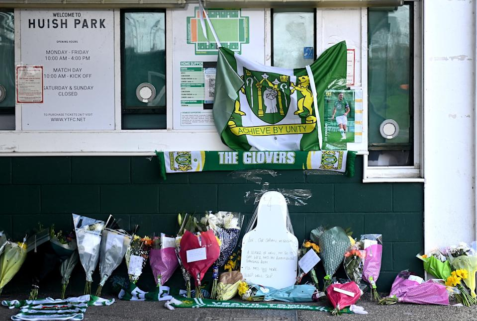 Tributes were laid outside Huish Park following his death (Simon Galloway/PA) (PA Wire)