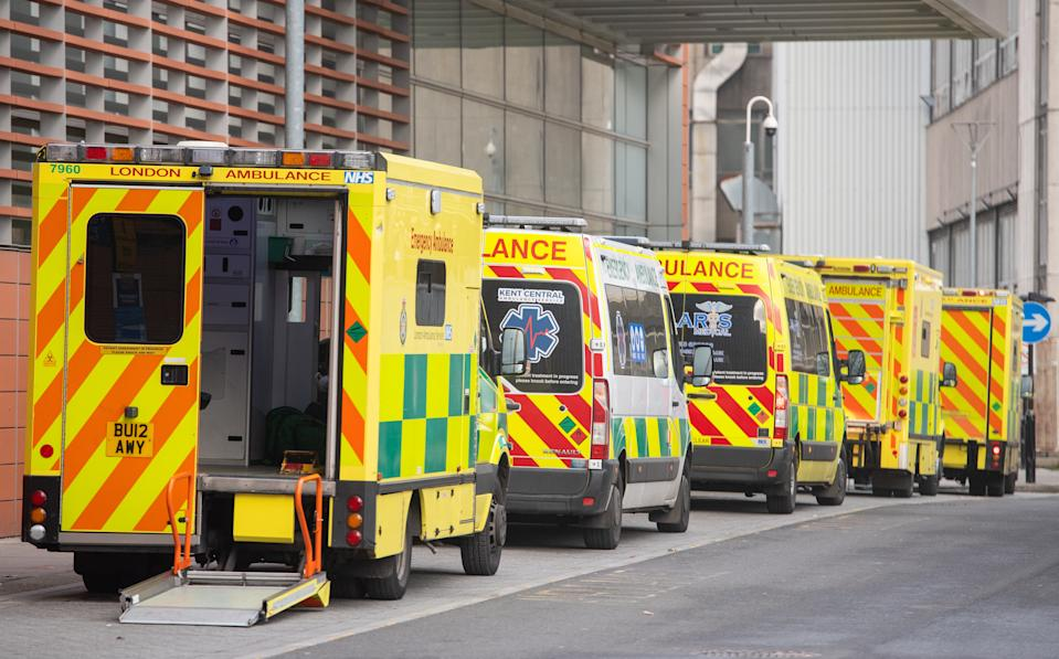 General view of ambulances outside the Royal London Hospital, in London.