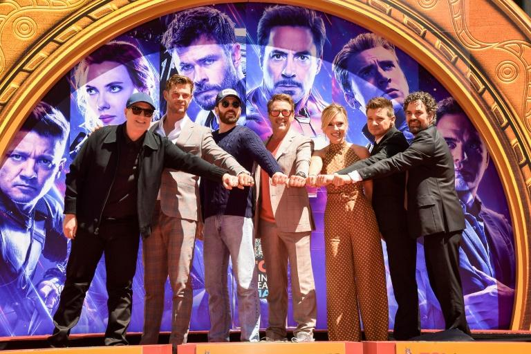 "The cast of ""Avengers"" at the TCL Chinese Theater in Hollywood. Pictured from left: President of Marvel Studios/Producer Kevin Feige, Chris Hemsworth, Chris Evans, Robert Downey Jr, Scarlett Johansson, Jeremy Renner and  Mark Ruffalo"
