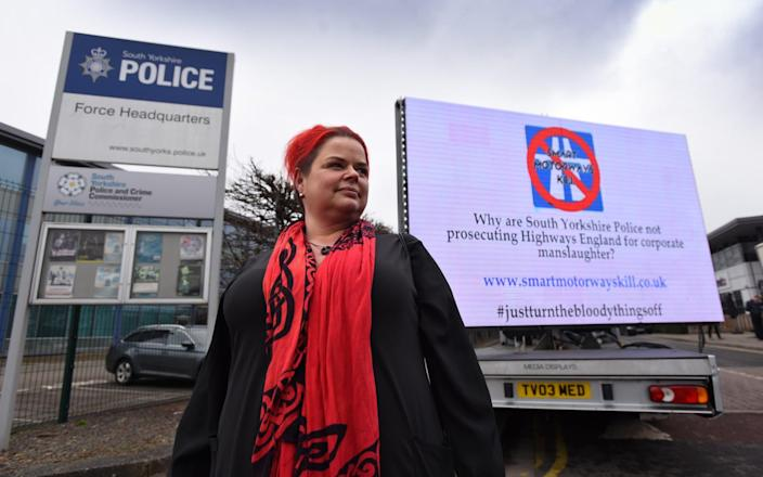 Claire Mercer calling for Highways England to be prosecuted over her husband's death on a smart motorway - Asadour Guzelian/Guzelian Ltd