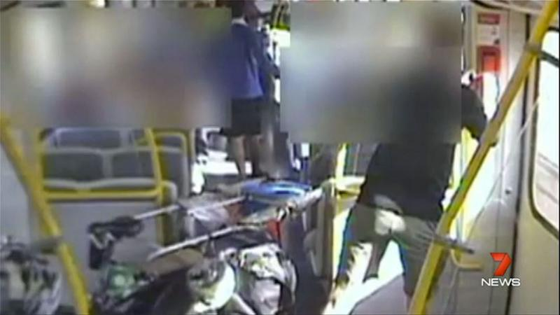Frantically, the Ashton family and other passengers try pressing on the emergency intercom buttons to stop the train. Photo: 7 News