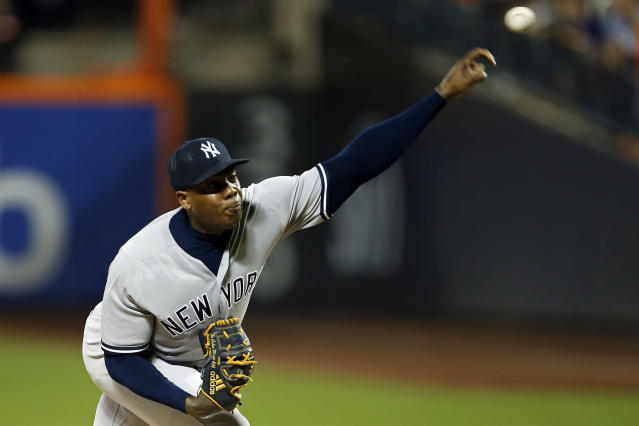 New York Yankees pitcher Aroldis Chapman delivers during the ninth inning of a baseball game against the New York Mets, Friday, June 8, 2018, in New York. (AP Photo/Adam Hunger)