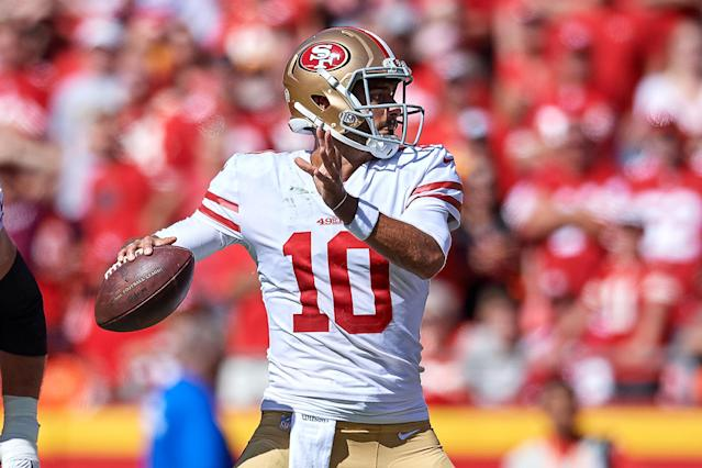Jimmy Garoppolo will resume his rightful place at the throne of an offense that was stable even without him in 2018. (Photo by Robin Alam/Icon Sportswire via Getty Images)