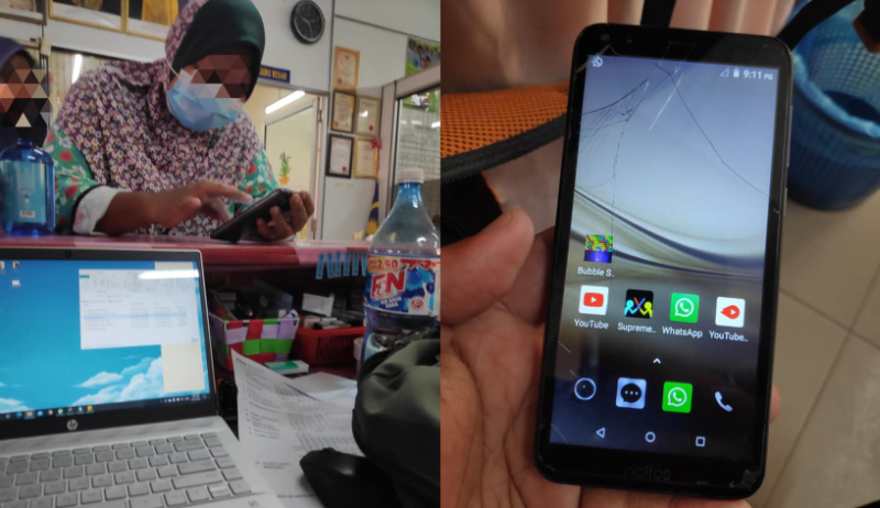 The mother approached one of the school's teachers for help, as she didn't know how to download the app. — Picture via Facebook/Nazirul Mu'izz Azmi