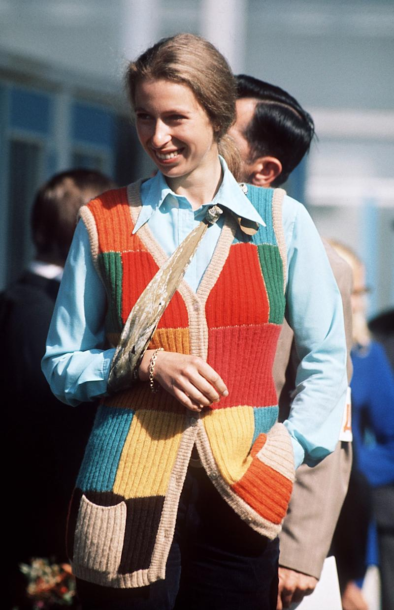 Princess Anne with her arm in a sling after she fell off her horse in Kiev, Russia, for a championship competition, September 1973.