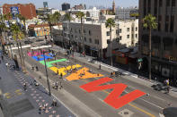 """""""ALL BLACK LIVES MATTER"""" is painted on Hollywood Boulevard near the famed Chinese and Dolby theatres, Saturday, June 13, 2020, in the Hollywood section of Los Angeles. (AP Photo/Mark J. Terrill)"""