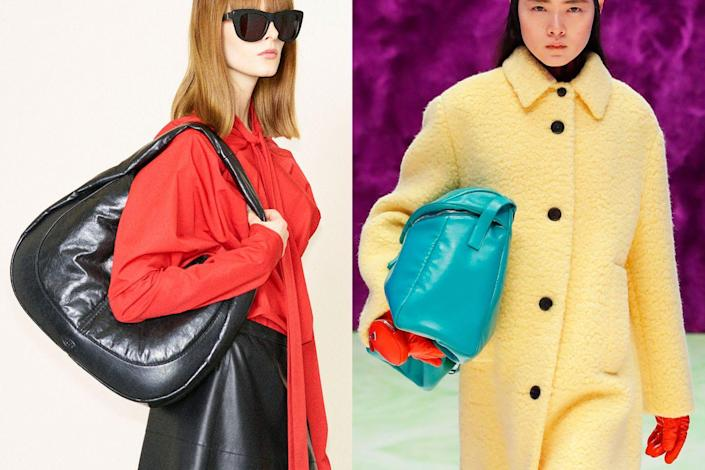 <p>Designers seem to be having a lot of fun playing around with puffier shapes for this upcoming winter. Both Tod's (<em>left</em>) and Prada (<em>right</em>) showed more voluminous versions of classic bag styles like a hobo and an oversized flap bag. This inflated proportion is a modern update that doesn't seem to be fading, so now is a great time to lean into it.</p>