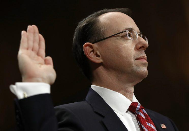 Rod Rosenstein testifying before the Senate Judiciary Committee on Capitol Hill. (Photo: Aaron P. Bernstein/Reuters)