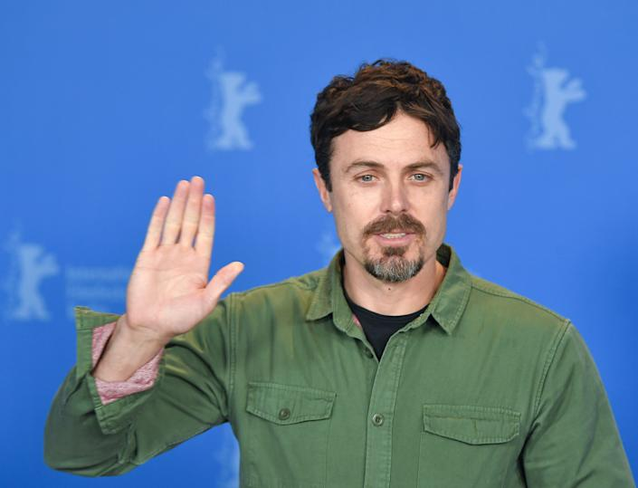 """08 February 2019, Berlin: 69th Berlinale: Casey Affleck, US actor and director, waves during the photo call to the film """"Light of My Life"""". The film starts in the Panorama section. Photo: Jens Kalaene/dpa (Photo by Jens Kalaene/picture alliance via Getty Images)"""