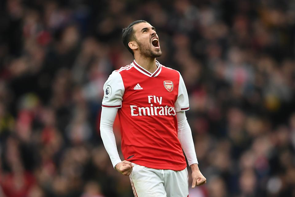 LONDON, ENGLAND - MARCH 07: Dani Ceballos of Arsenal celebrates after his team's first goal during the Premier League match between Arsenal FC and West Ham United at Emirates Stadium on March 07, 2020 in London, United Kingdom. (Photo by Harriet Lander/Copa/Getty Images )