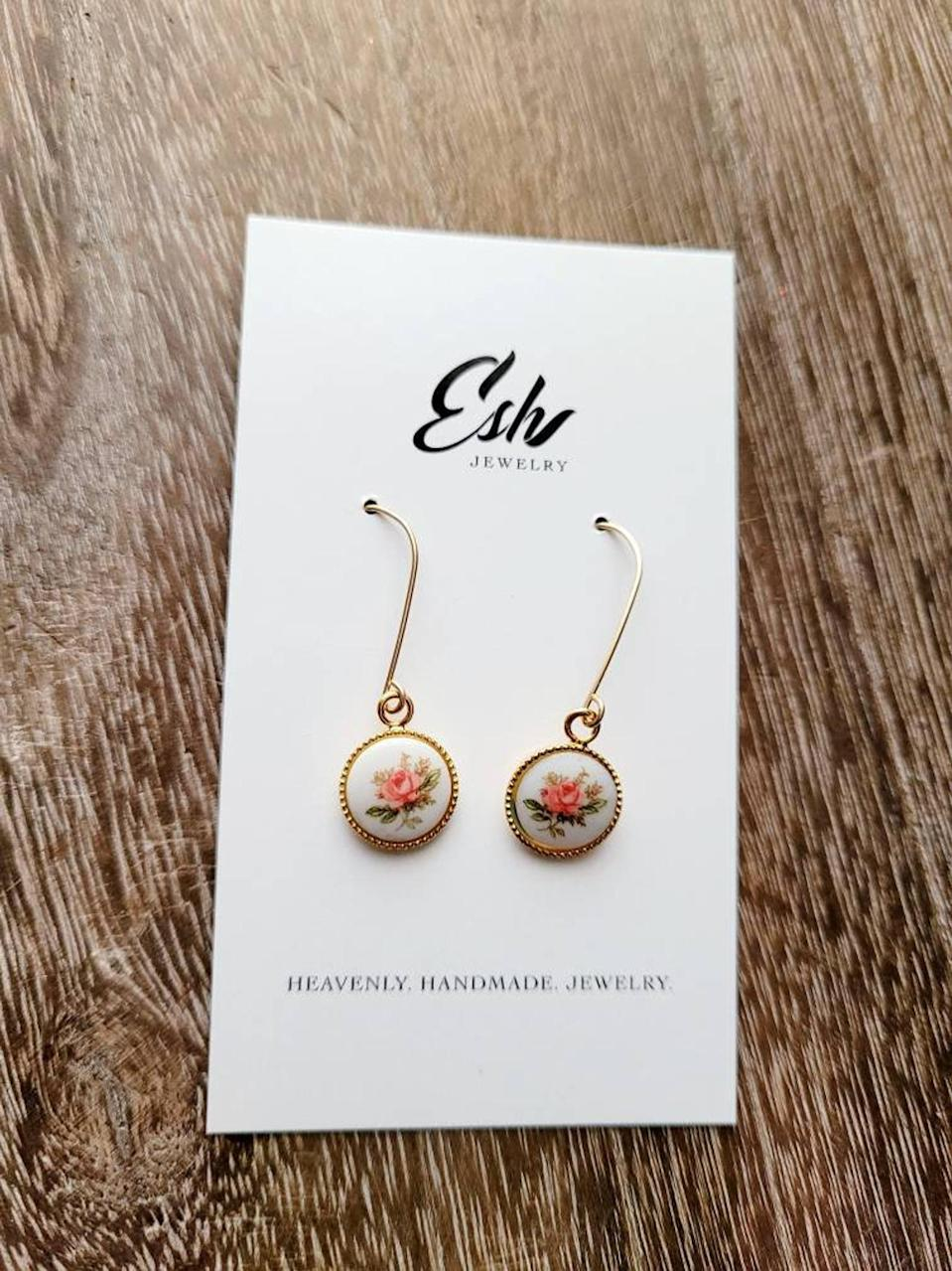 <p>These <span>Esh Jewelry Pink Rose Earrings</span> ($29) are so dainty and charming.</p>