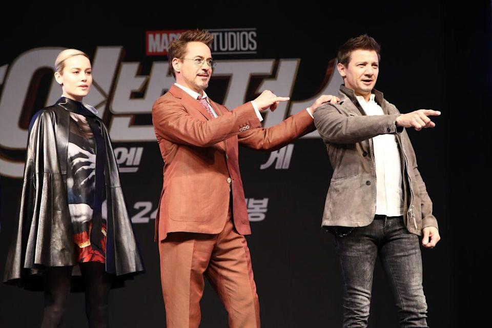 Avengers: Die Stars des Endgame Brie Larson, Robert Downey Jr. und Jeremy Renner werben am 15. April 2019 in Seoul für den Film. (Foto: Chung Sung-Jun / Getty Images für Disney)
