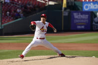 St. Louis Cardinals starting pitcher Kwang Hyun Kim throws during the second inning in the first game of a baseball doubleheader against the New York Mets Wednesday, May 5, 2021, in St. Louis. (AP Photo/Jeff Roberson)