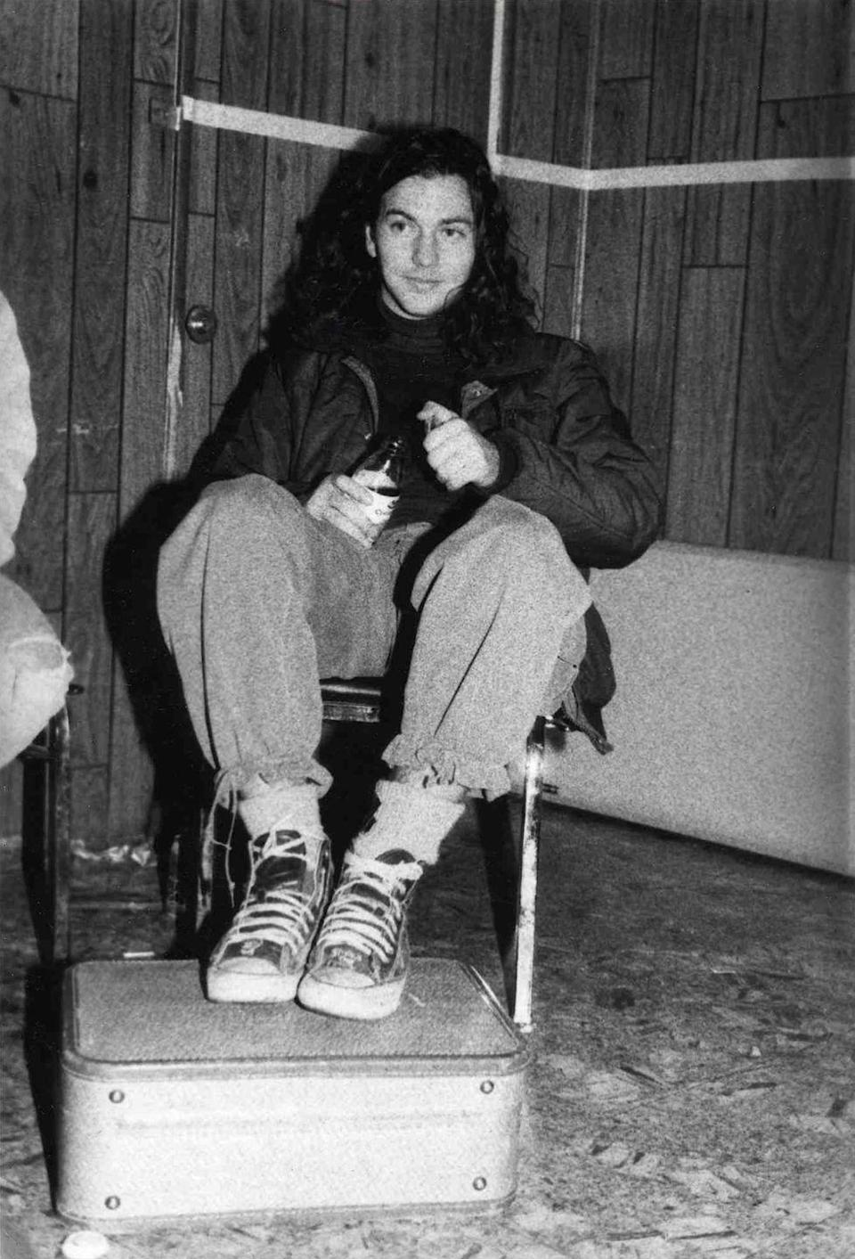 <p>Eddie Vedder backstage during Rock for Choice concert at The Hollywood Palladium on January 23, 1993 in Los Angeles.</p>