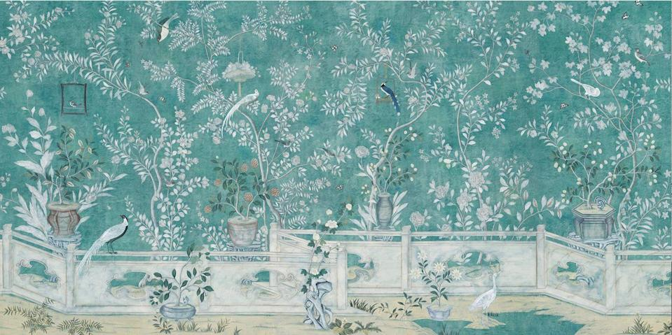 "<p>Though this sweeping, hand-painted wallpaper may be fairly new to <a href=""https://www.degournay.com/"" rel=""nofollow noopener"" target=""_blank"" data-ylk=""slk:de Gournay's"" class=""link rapid-noclick-resp"">de Gournay's</a> repertoire, Salon Vert's leafy branches were inspired by the famous antique paper used in Baroness Pauline de Rothschild's Paris apartment. The pattern was captured in a photograph taken by Horst P. Horst for <em>Vogue</em> with the Baroness peeping into the room from the jib door in 1969. </p><p>While de Gournay has since re-created this majestic design, the original was taken down in 1988 after Rothschild's death and was last seen for sale in a Parisienne antiques shop in the early 1990s. Its whereabouts since are unknown.<br></p>"