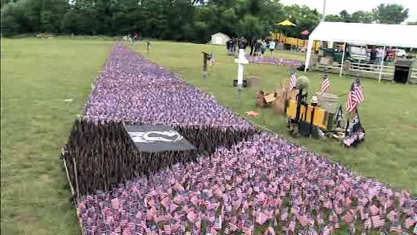 <p>Dozens of volunteers from the Delaware Valley Vietnam Veterans organization spent Flag Day at Mill Creek Park in Levittown.</p>