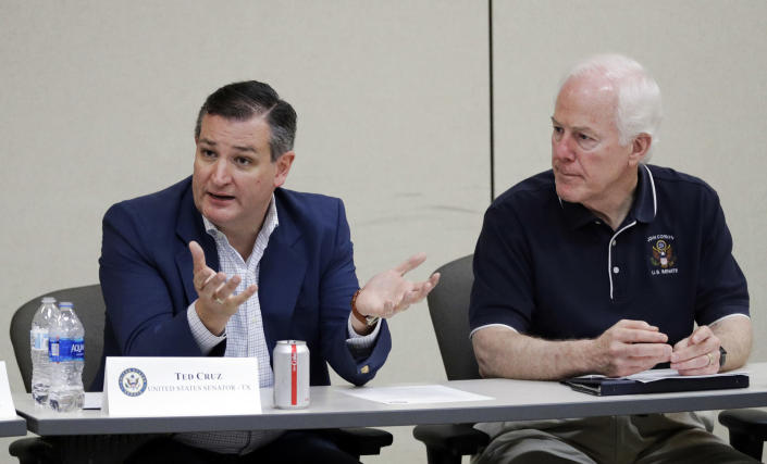 Cruz and fellow GOP Sen. John Cornyn of Texas discuss their immigration proposal on June 22, 2018, in Weslaco, Texas, after touring immigrant detention facilities for children in South Texas. (Photo: David J. Phillip/AP)