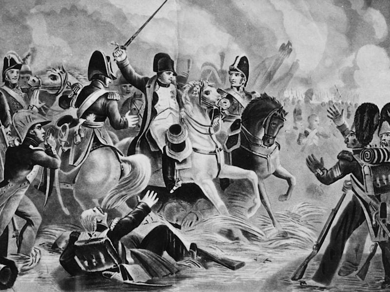 Napoleon tries to lead the final assault by his Imperial Guard at the Battle of Waterloo on 18 June, 1815: Hulton Archive/Getty Images