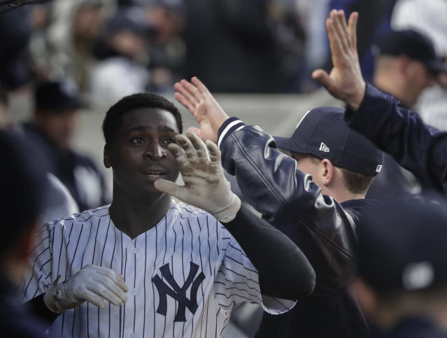 New York Yankees' Didi Gregorius celebrates with teammates in the dugout after hitting a solo home run against the Minnesota Twins during the third inning of a baseball game, Wednesday, April 25, 2018, in New York. (AP Photo/Julie Jacobson)