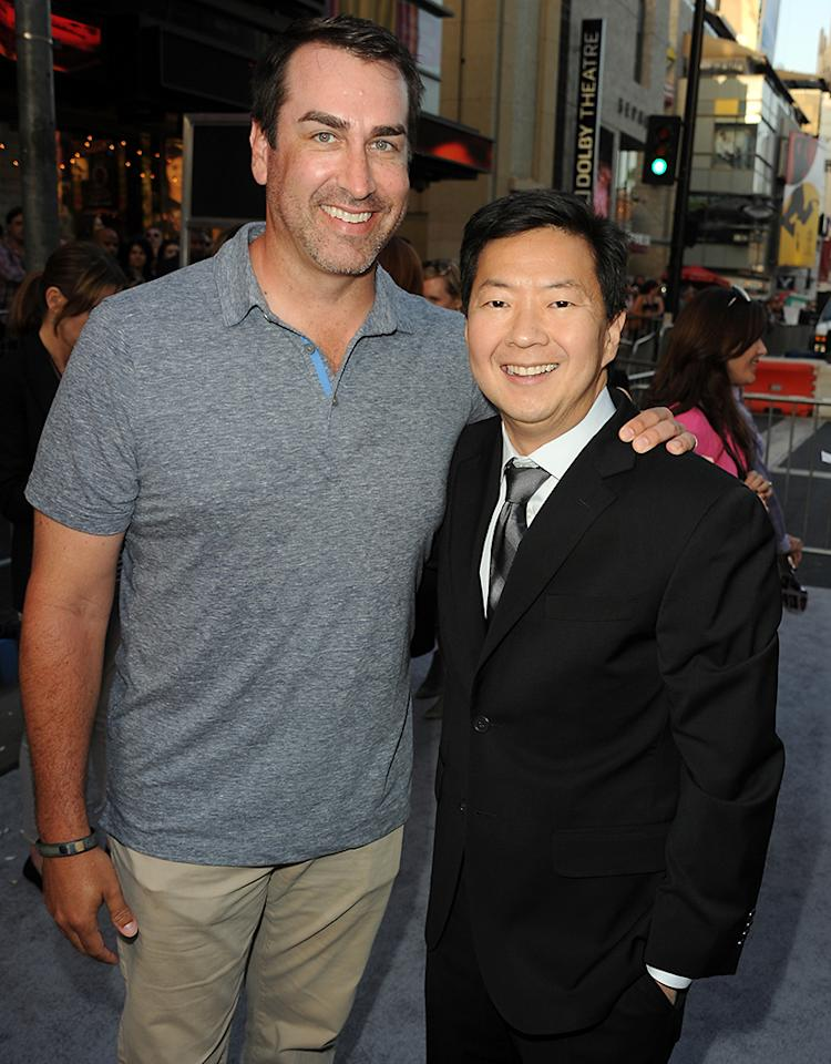"""Rob Riggle and Ken Jeong arrive at the premiere of Paramount Pictures'""""Pain & Gain"""" at TCL Chinese Theatre on April 22, 2013 in Hollywood, California.  (Photo by Kevin Winter/Getty Images for Paramount Pictures)"""