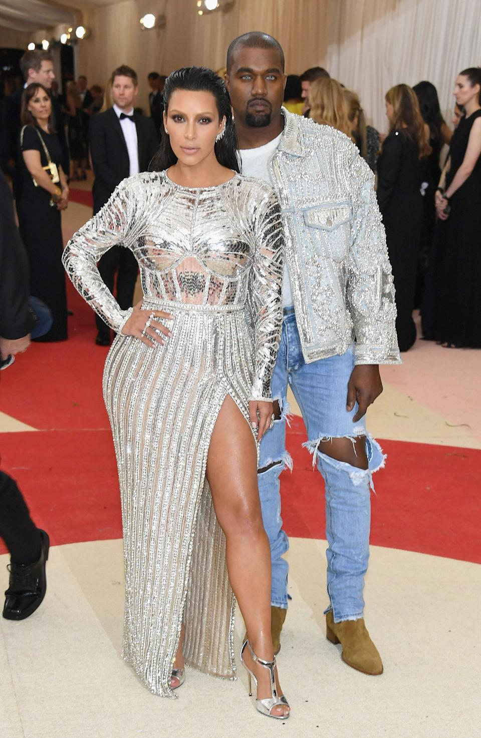 """<h1 class=""""title"""">Kim Kardashian West in a Balmain dress and Lorraine Schwartz jewelry and Kanye West in Fear of God</h1> <cite class=""""credit"""">Photo: Getty Images</cite>"""