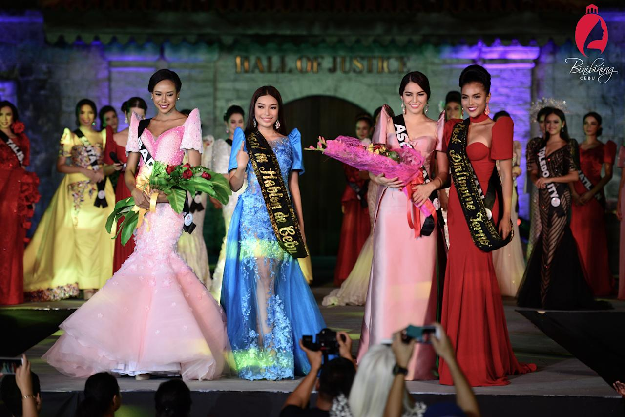 <p>(From left) Apriel Smith, Nica Zosa Nabua, Samantha Ashley Lo and Maria Gigante at Binibining Cebu 2017. (Photo: Sidney Dyguarni/Binibining Cebu) </p>