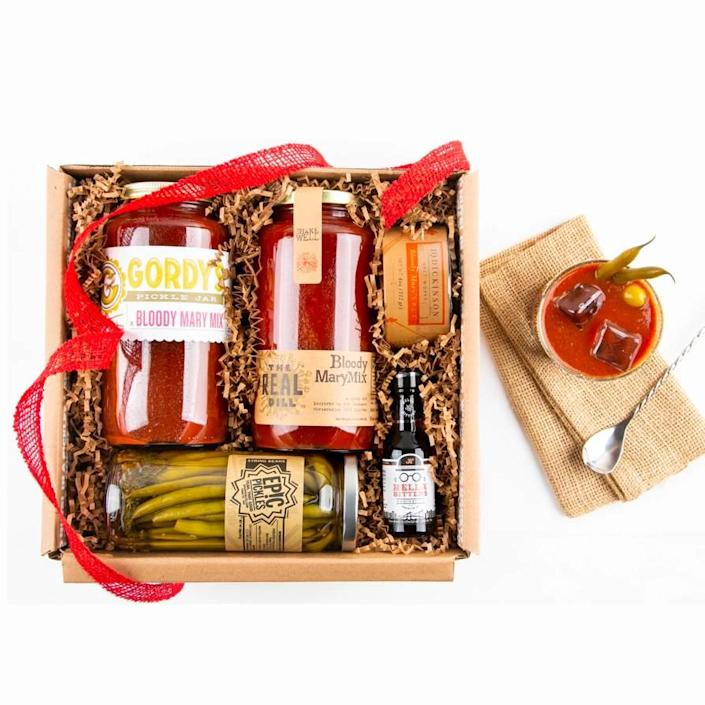 """Bicoastal besties brunch is just a Zoom call away thanks to this kit including all the fixings for bomb Bloody Marys, from pickled string beans to aromatic bitters. $82, Mouth. <a href=""""https://www.mouth.com/products/bloody-mary-cocktail-kit-gift-box"""" rel=""""nofollow noopener"""" target=""""_blank"""" data-ylk=""""slk:Get it now!"""" class=""""link rapid-noclick-resp"""">Get it now!</a>"""