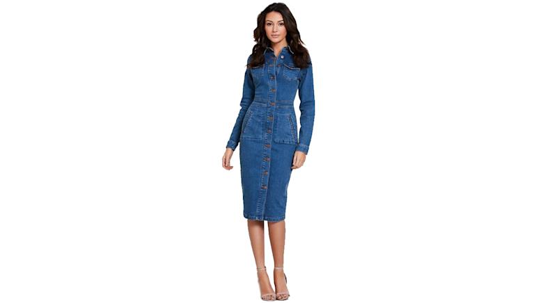 Michelle Keegan Long Sleeve Denim Bodycon Dress
