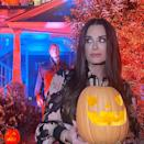 <p>watching her back while promoting the film <em>Halloween Kills</em> on Oct. 6.</p>