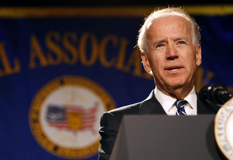 Vice President Joe Biden speaks at the annual convention of the National Association of Police Organizations, Monday, July 23, 2012, in Manalapan, Fla. Biden spoke about the recent Colorado movie theater shooting which killed twelve people and injured dozens more. (AP Photo/Lynne Sladky)