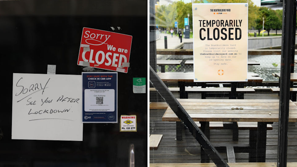 Image of 'CLOSED' signs on Victoria and ACT businesses