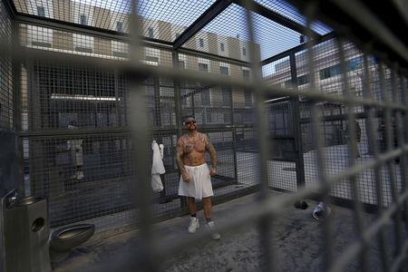 Robert Galvan, who is on death row for murder, exercises at the Adjustment Center yard during a media tour of California's Death Row at San Quentin State Prison in San Quentin, California December 29, 2015. Picture taken December 29, 2015. REUTERS/Stephen Lam