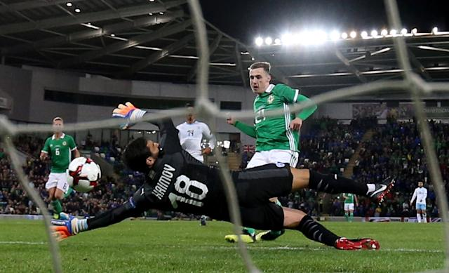Soccer Football - International Friendly - Northern Ireland v Israel - Windsor Park, Belfast, Britain - September 11, 2018 Northern Ireland's Gavin Whyte scores their third goal Action Images via Reuters/Jason Cairnduff