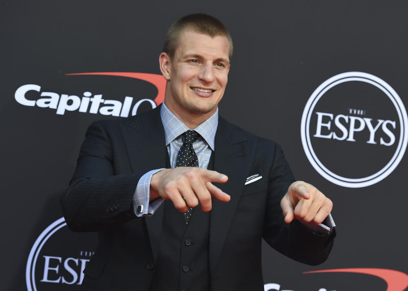NFL player Rob Gronkowski of the New England Patriots arrives at the ESPY Awards on Wednesday, July 10, 2019, at the Microsoft Theater in Los Angeles. (Photo by Jordan Strauss/Invision/AP)