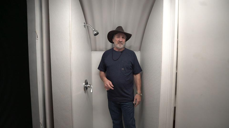 Hubbard showing off his bunker's shower