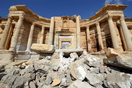 A general view shows damage in the amphitheater of the historic city of Palmyra, Syria March 4, 2017. REUTERS/Omar Sanadiki